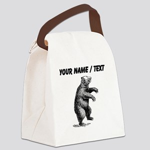 Custom Grizzly Bear Sketch Canvas Lunch Bag