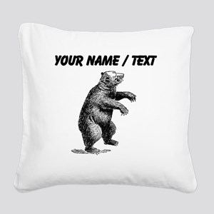 Custom Grizzly Bear Sketch Square Canvas Pillow