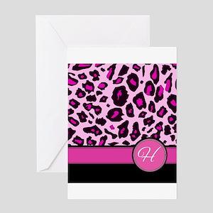 Pink Leopard Letter H monogram Greeting Cards