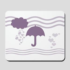 Purple Hearts Rain Mousepad