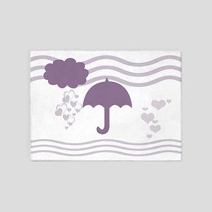 Purple Hearts Rain 5'x7'Area Rug