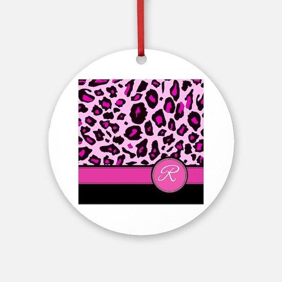 Pink Leopard Letter R monogram Ornament (Round)