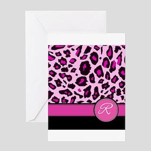 Pink Leopard Letter R monogram Greeting Cards