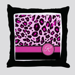 Pink Leopard Letter R monogram Throw Pillow