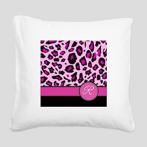 Pink Leopard Letter R monogram Square Canvas Pillo