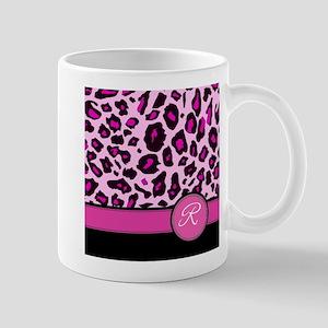 Pink Leopard Letter R monogram Mugs