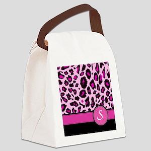 Pink Leopard Letter S monogram Canvas Lunch Bag