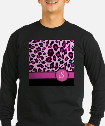 Pink Leopard Letter S monogram Long Sleeve T-Shirt