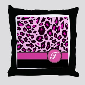 Pink Leopard Letter T monogram Throw Pillow