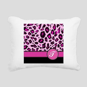 Pink Leopard Letter T monogram Rectangular Canvas