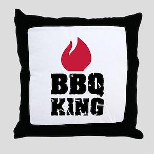 BBQ King fire Throw Pillow