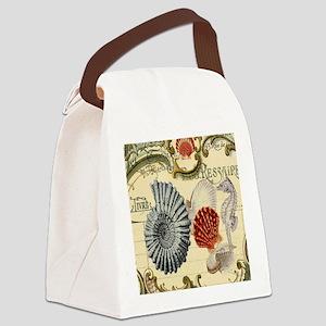 vintage colorful seashells nautic Canvas Lunch Bag