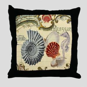 vintage colorful seashells nautical b Throw Pillow