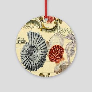 vintage colorful seashells nautical Round Ornament