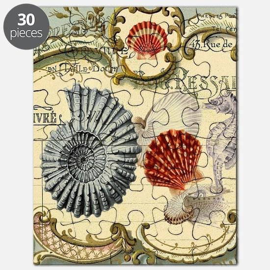 vintage colorful seashells nautical beach Puzzle