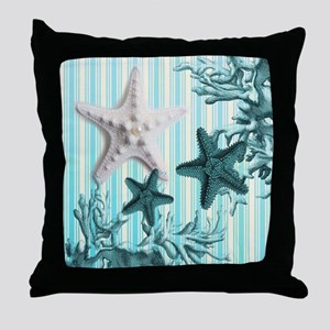 modern blue seashells nautical beach Throw Pillow