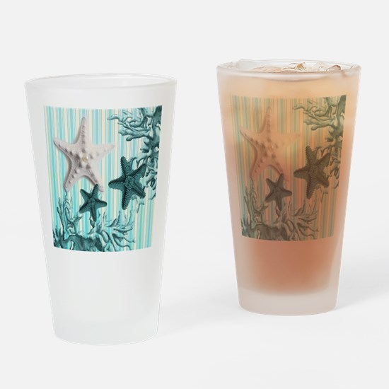 modern blue seashells nautical beac Drinking Glass