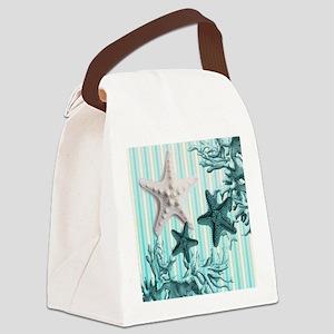modern blue seashells nautical be Canvas Lunch Bag