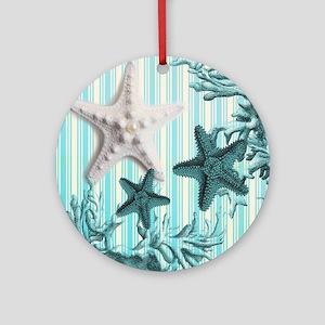 modern blue seashells nautical beac Round Ornament