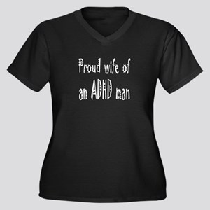 Plus-size V-neck dark T for wife of an ADHD man