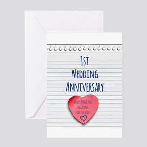 1st wedding anniversary greeting cards cafepress 1st wedding anniversary greeting cards m4hsunfo