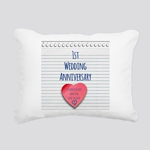 1st Wedding Anniversary Rectangular Canvas Pillow