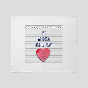 1st Wedding Anniversary Throw Blanket