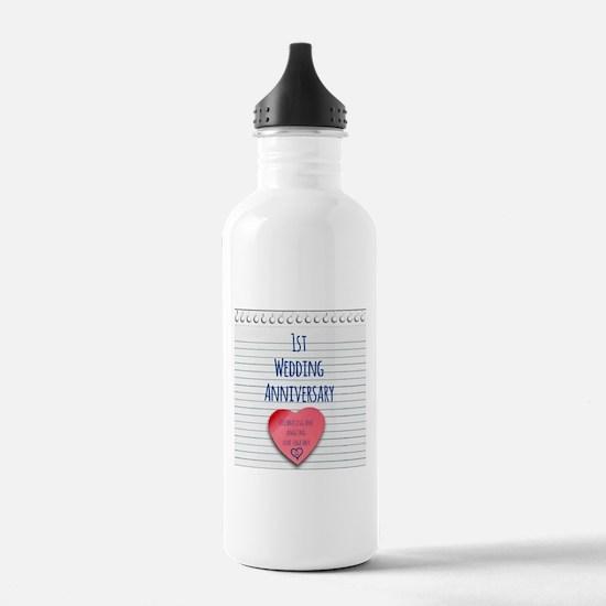 1st Wedding Anniversary Water Bottle