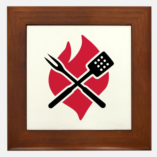BBQ barbecue Fire Framed Tile