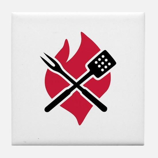 BBQ barbecue Fire Tile Coaster