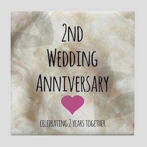 2nd Wedding Anniversary Tile Coaster