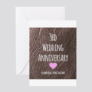 3rd wedding anniversary greeting cards cafepress 3rd wedding anniversary greeting cards m4hsunfo