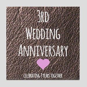 3rd Wedding Anniversary Tile Coaster