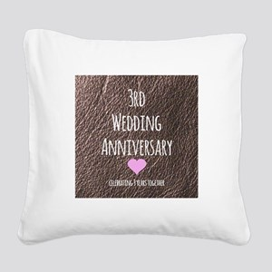 3rd Wedding Anniversary Square Canvas Pillow