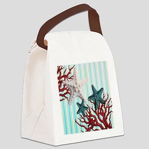 modern seashells coral nautical b Canvas Lunch Bag