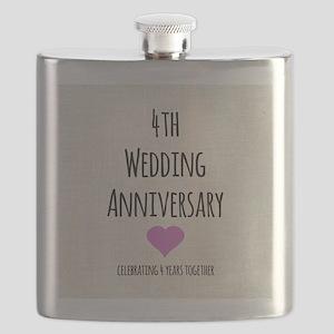 4th Wedding Anniversary Flask