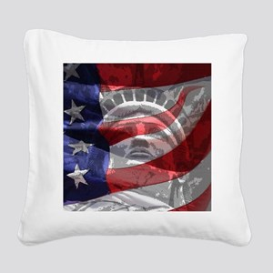 Statue of Liberty Square Canvas Pillow