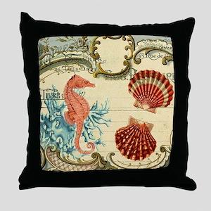 chic seahorse seashells nautical beac Throw Pillow