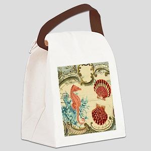 chic seahorse seashells nautical  Canvas Lunch Bag