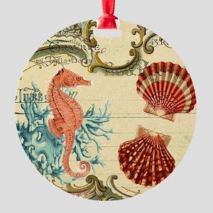 chic seahorse seashells nautical be Round Ornament
