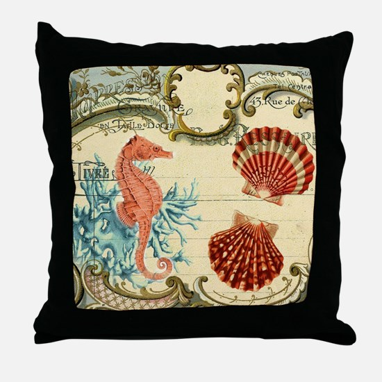 chic seahorse seashells nautical beac Throw Pillow