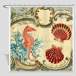 chic seahorse seashells nautical be Shower Curtain