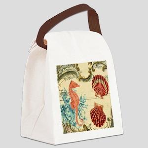 ocean seahorse seashells nautical Canvas Lunch Bag