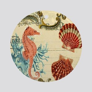 ocean seahorse seashells nautical b Round Ornament