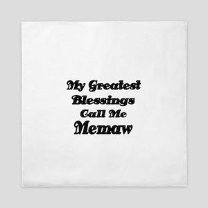 My Greatest Blessings call me Memaw 2 Queen Duvet