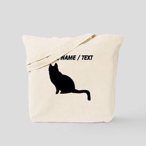 Custom Black Cat Silhouette Tote Bag