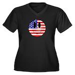 USA Smiley Women's Plus Size V-Neck Dark T-Shirt