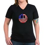 USA Smiley Women's V-Neck Dark T-Shirt