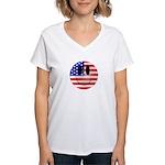 USA Smiley Women's V-Neck T-Shirt