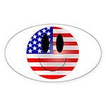 USA Smiley Oval Sticker
